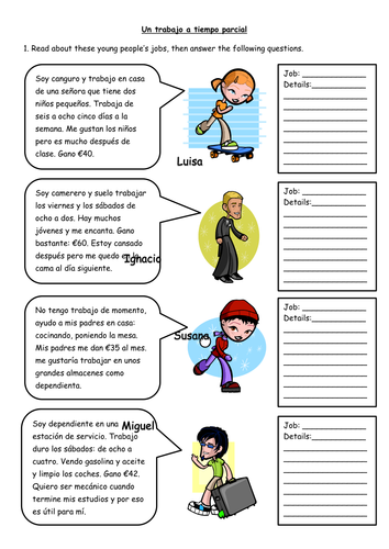 Spanish Part Time Jobs Worksheet By Missmittens Teaching