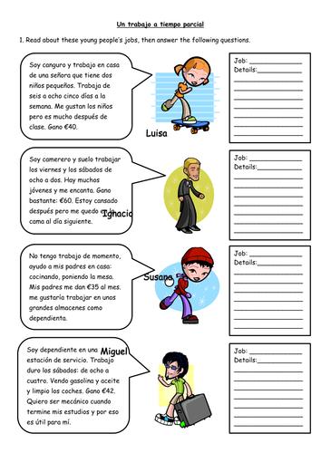 Spanish Part-Time Jobs Worksheet by MissMittens - Teaching ...