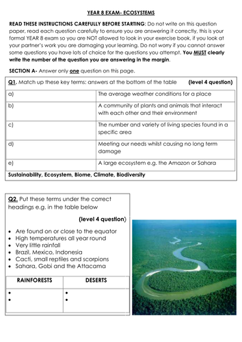 year 8 geography exam by tandrews11 teaching resources tes