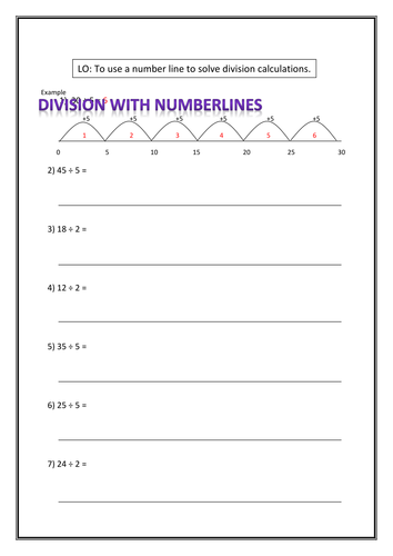 division using numberlines by r4chsm1th teaching resources. Black Bedroom Furniture Sets. Home Design Ideas