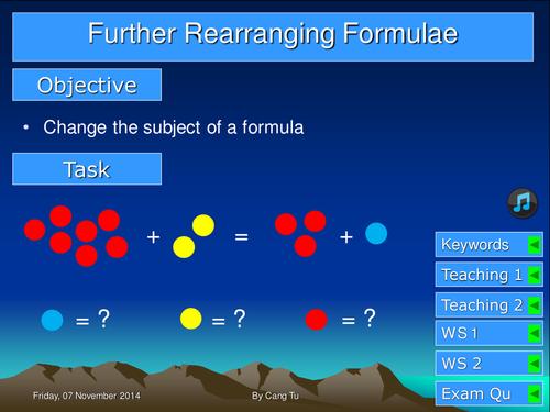 Further rearranging formula Grade B-A