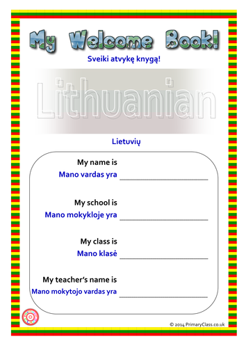 Lithuanian/English EAL Welcome Book