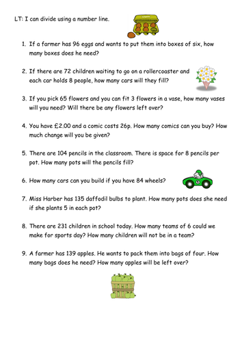 Grouping division word problems by Rachael_H | Teaching Resources