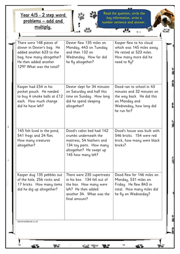 Year 4 5 2 Step Add Subtract Word Problems By Hilly100m