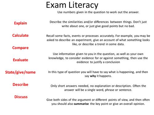 Exam Literacy lesson plan