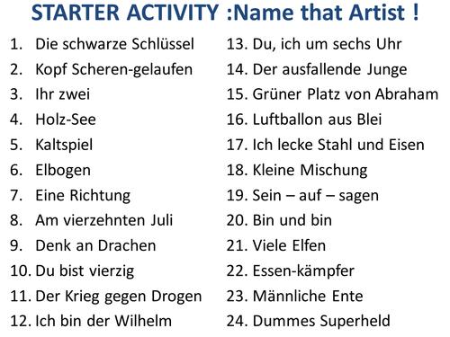 GERMAN STARTER Name the band