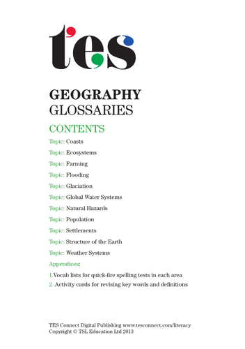 Geography glossaries