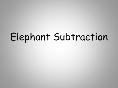 Elephant themed subtraction powerpoint 1-20