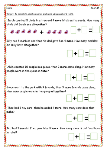 Addition word problems to 20 by PandaPop25 | Teaching Resources