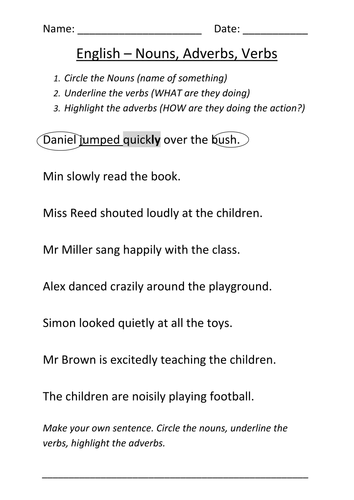 Worksheet Nouns Verbs and Adverbs