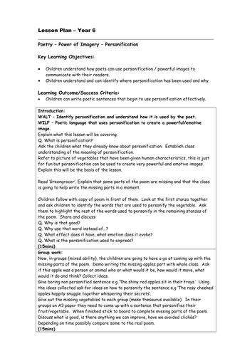 Personification Poetry - year 6 (Forest theme)