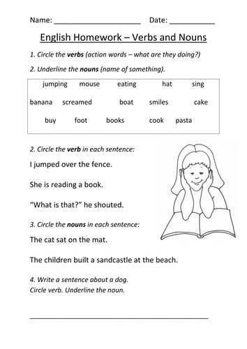 Nouns and Verbs Worksheet KS1