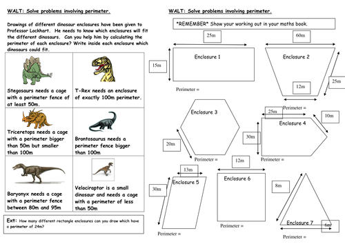 dinosaur perimeter investigation by mrspomme teaching resources. Black Bedroom Furniture Sets. Home Design Ideas