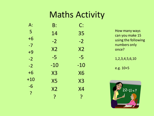 Quick maths starters and challenges
