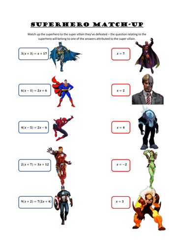Superhero Match Up Solving Equations By Aaronrj 2005