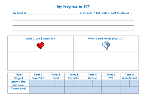 My Progress in ICT - Tracking Sheet