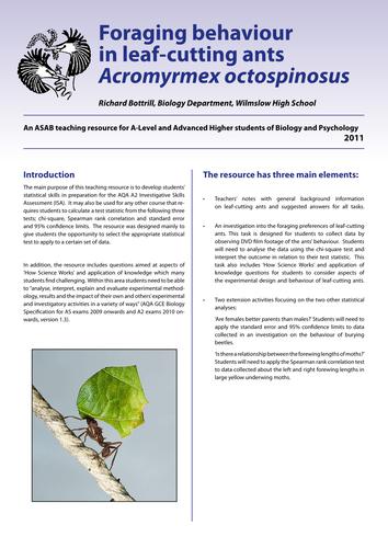 Animal Behaviour: Foraging behaviour in ants