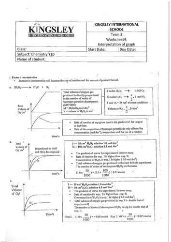 Rate of reaction worksheets