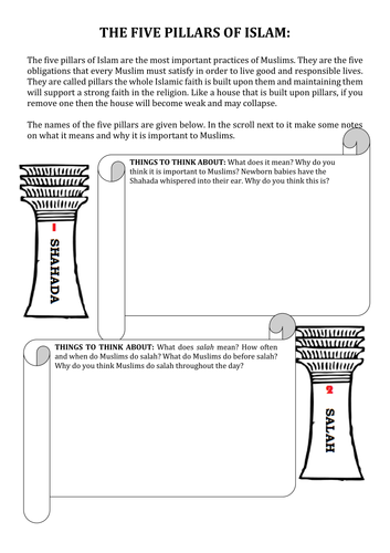 Worksheets Five Pillars Of Islam Worksheet five pillars of islam worksheet by teachergoman teaching resources tes