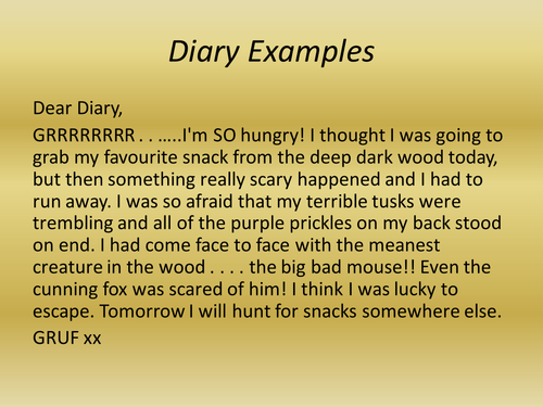 Julia donaldson diary entries by lauren miles1 teaching for Diary writing template ks1