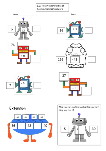 Function Machines Robots And Monsters By Emjb Teaching Resources Tes