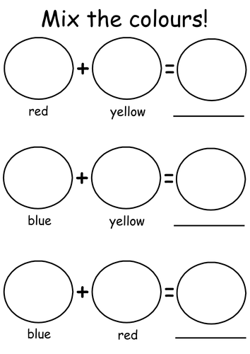 Simple Primary Colour Mixing Worksheet by Rhyburgh