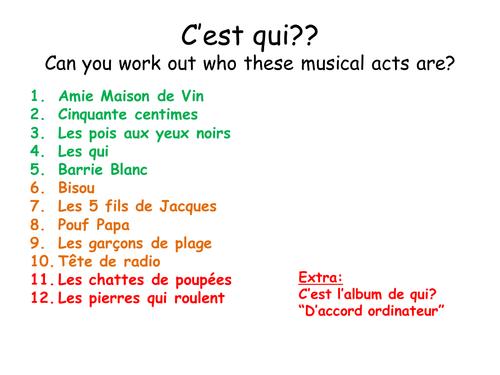 KS3/4 French music starter