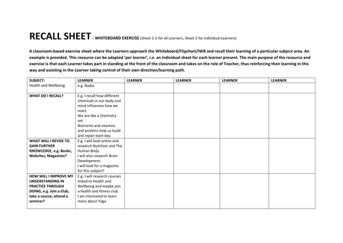 RECALL SHEET - EVALUATING LEARNER KNOWLEDGE