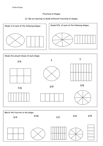 fractions shading different fractions of shapes by cmclaughlin4 teaching resources tes. Black Bedroom Furniture Sets. Home Design Ideas