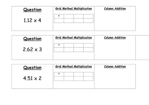 Year 6 Multiplication Differentiated Worksheets by chrisball92 – Multiplication Using the Grid Method Worksheets