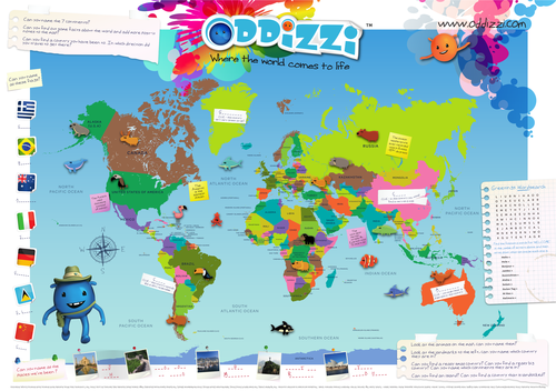 World Map Activity by oddizzigloballearning  Teaching Resources  Tes