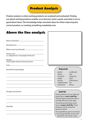 Product Analysis Worksheet By Rhiace Teaching Resources