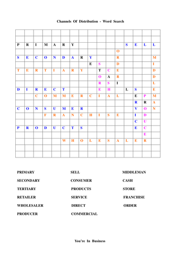 Word Search - Place : Channels of Distribution