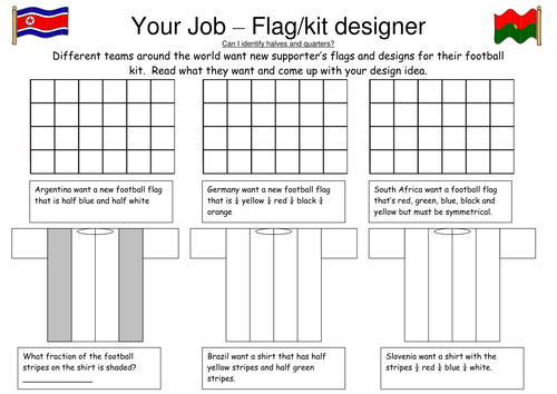 FRACTION FLAG COLOURING by gepocock Teaching Resources TES – Fraction Flags Worksheet