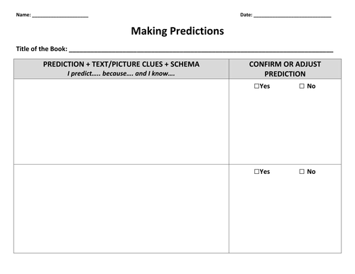 Making Predictions by kylegiesbrecht Teaching Resources TES – Prediction Worksheets