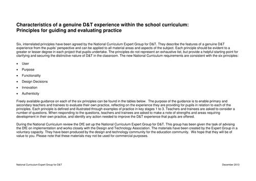 School Curriculum Principles for D&T