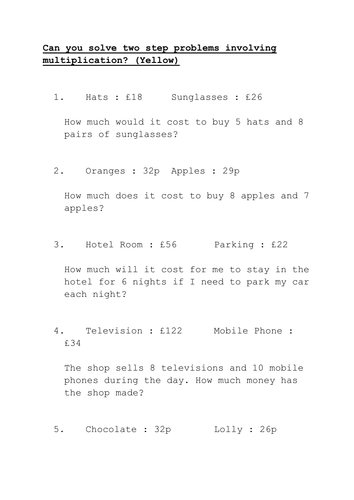 Word Problems Involving Multiplication - Laptuoso
