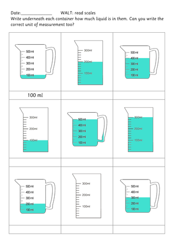 Capacity worksheets on reading scales by beanyem - Teaching ...