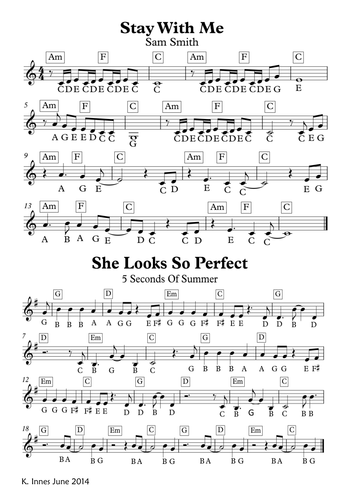 Chart Songs Sheet Music May 2016 for Keyboard or Xylophone