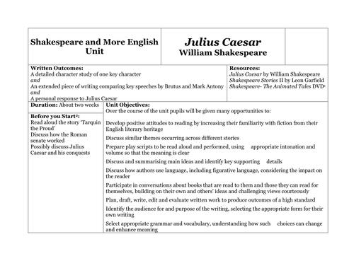 Unit Of Work For Shakespeares Julius Caesar By Shakespeareandmore