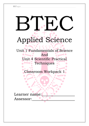 BTEC National L3 Applied Science Unit 1 workpack