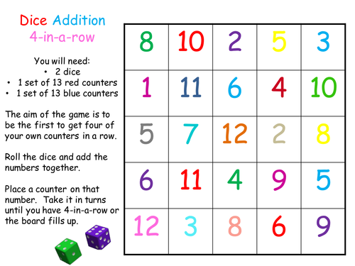 dice addition game teaching resources. Black Bedroom Furniture Sets. Home Design Ideas