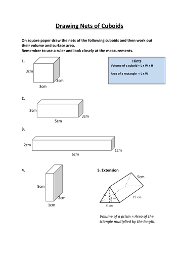 Plan Elevation Of A Cuboid : Drawing nets of cuboids by ewarwood teaching resources tes