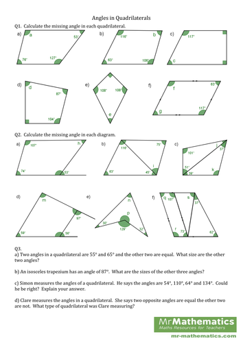 Worksheets Quadrilateral Properties Worksheet angles in a quadrilateral by mr mathematics teaching resources tes