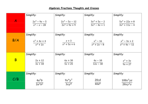Algebraic Fractions Thoughts and Crosses by LeonD06 Teaching – Algebraic Fractions Worksheet