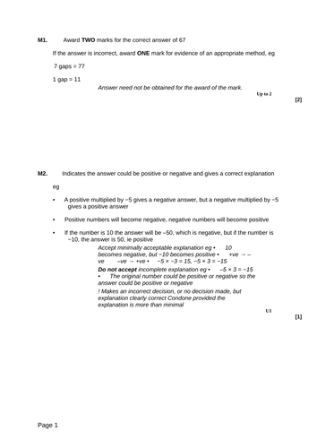 Negative Numbers - Levelled SATs questions by eric_t_viking ...