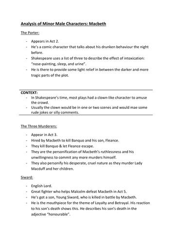Macbeth Minor Characters