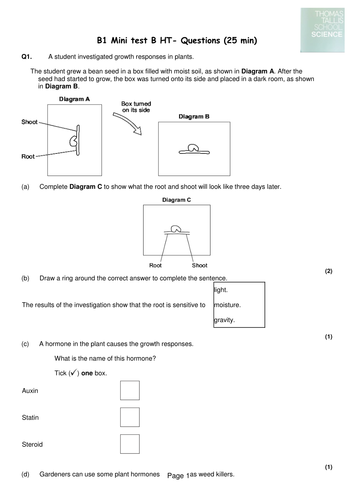AQA B1 mini tests with mark schemes and ums