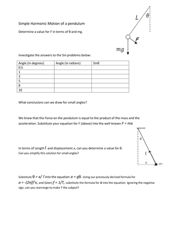 Shm Simple Harmonic Motion Of A Pendulum Worksheet By