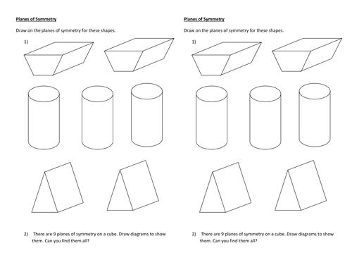 Planes of Symmetry Worksheet by Jane141 Teaching Resources TES – Symmetry Worksheet
